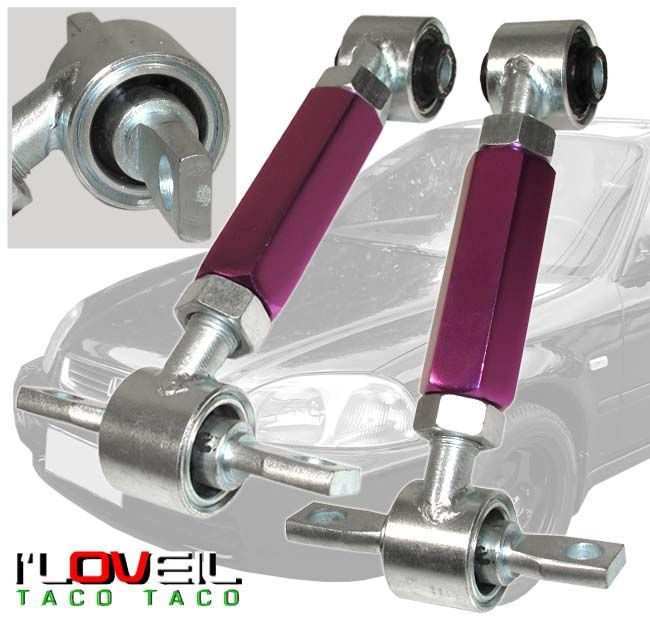 1988 2000 HONDA CIVIC/DEL SOL/CRX PURPLE ADJUSTABLE REAR CAMBER KIT