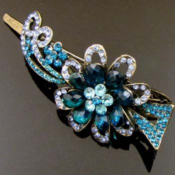 antiqued rhinestone crystals fiower hair clamp clip
