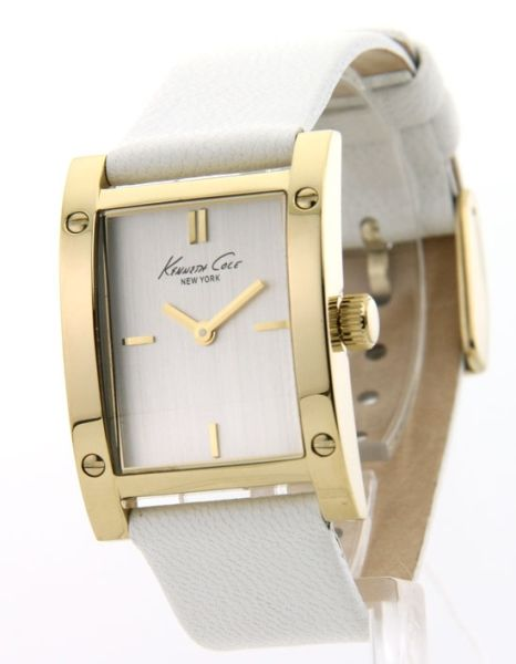 Kenneth Cole KC2591 Watch Womens White Casual Leather New 020571072374